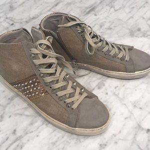 Leather crown stud sneakers